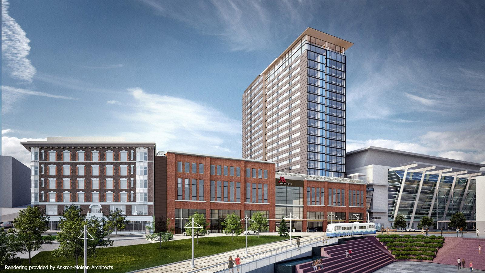 Artists rendering of 23-story Tacoma Convention Center Hotel standing next to GTCC.