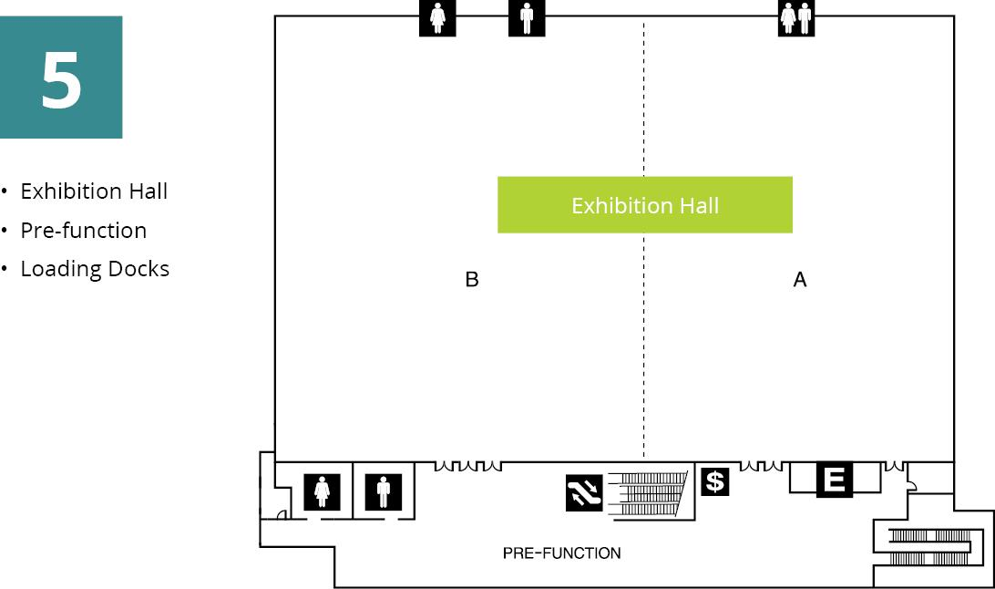 Diagram of the Exhibition Hall at Greater Tacoma Convention Center