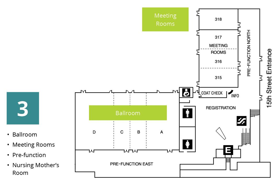 Diagram of the third floor ballroom at Tacoma Convention Center